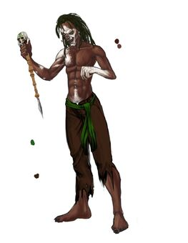 Mr. Sunshine Concept Art 05 - Shirtless with white paint and dreads