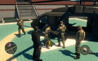 SNG soldiers - 4 on Saints HQ helipad in Saints Row The Third