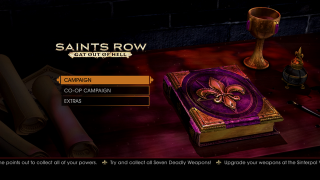 File:Gat out of Hell main menu - Try and collect all Seven Deadly Weapons.png