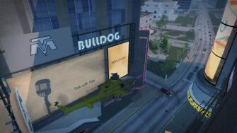 Bulldog logo on a building in Downtown Stilwater
