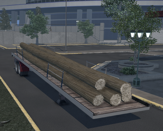 Flatbed trailer with Logs
