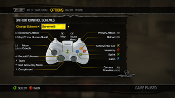 Saints Row 2 Menu - Options - Controls - On Foot Control Schemes - Scheme B