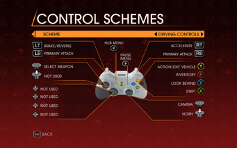Saints Row Gat out of Hell - Main Menu - Options - Controls - Gamepad - Control Schemes - Driving Controls II
