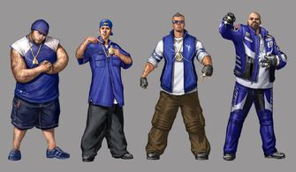 Westside Rollerz Concept Art - 4 detailed gang members