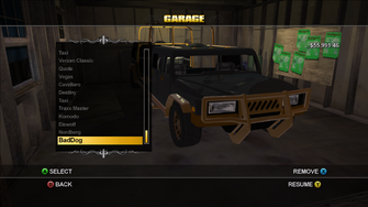 BadDog in the Garage menu