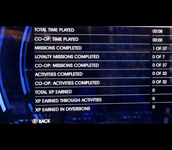 Statistics menu in Saints Row IV rerelease photo
