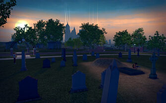 Mourning Woods Cemetery - graves at dusk