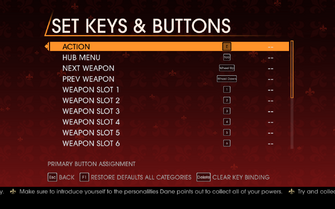 Saints Row Gat out of Hell - Main Menu - Options - Controls - Set Keys & Buttons - General