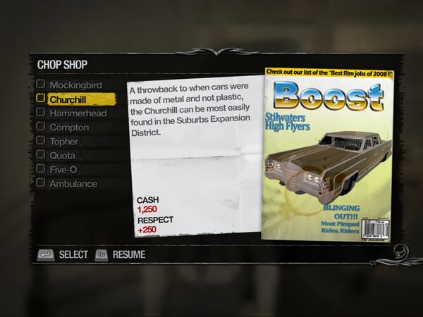 Churchill - Suburbs Chop Shop list in Saints Row 2