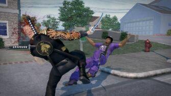 Samurai Sword Slash Across the Chest then Kick