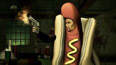 Playa wearing a hotdog suit promo