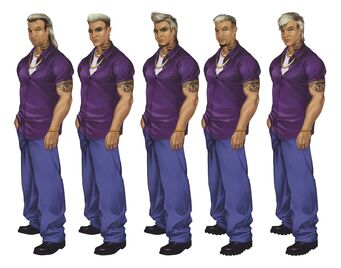 Johnny Gat Concept Art - Saints Row 2 - five different faces with similar outfits