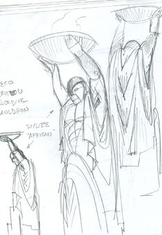 Phillips Building Statue Concept Art - Cauldron above head