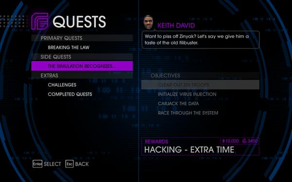 Quests Menu - The Simulation Recognizes