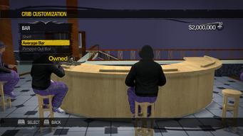 Saints Row Mega Condo - Crib Customization - Bar - Average Bar - Pimp Overall Style has chairs