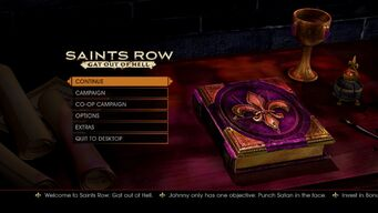 Saints Row Gat out of Hell main menu