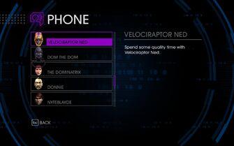 Velociraptor Ned in Cellphone menu