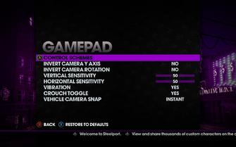 Saints Row The Third - Main Menu - Options - Controls - Gamepad