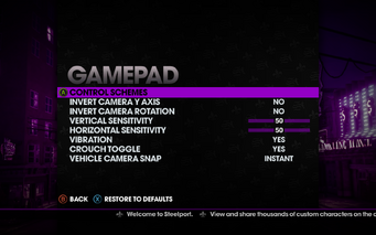 Saints Row The Third - Main Menu - Options - Controls - Gamepad