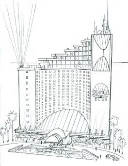 Poseidon's Palace Concept Art - Saints Row 2 exterior sketch