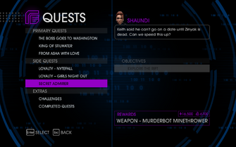 Quests Menu - Secret Admirer