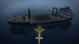 Cargo ship - port side from the air