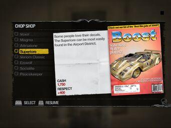 Superiore - Truckyard Chop Shop list in Saints Row 2