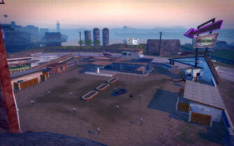 Pleasant View in Saints Row 2 - Drive-in from mountain