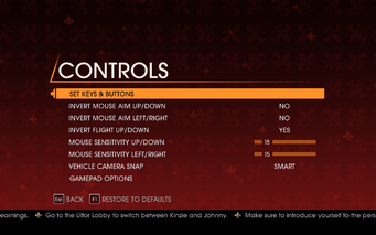 Saints Row Gat out of Hell - Main Menu - Options - Controls menu