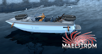Standard Maelstrom with Front Mod 2, Rear Mod, Antenna, Lights, Side Skirt, with rack and skis Extras - side view