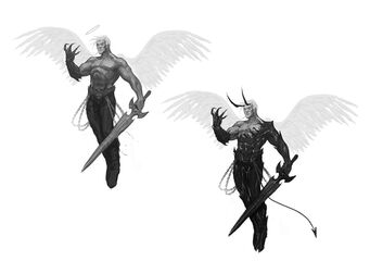 Johnny Gat Concept Art - Gat out of Hell Demonic look - two versions flying