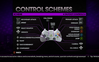 Saints Row The Third - Main Menu - Options - Controls - Gamepad - Control Schemes - On Foot Controls II