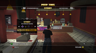 The Streets of Stilwater cutscene in Peep This Theatre