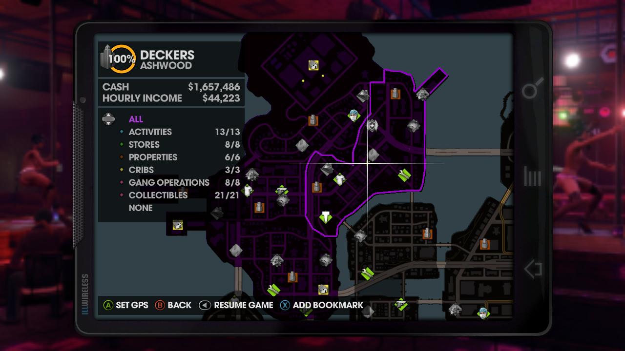 Saints Row 3 Gang Operations Map foot pain map