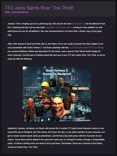 TF2 Joins Saints Row The Third
