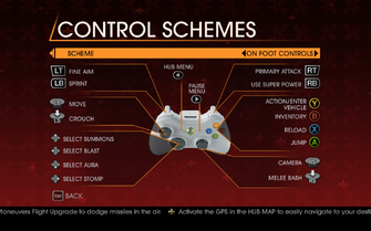 Saints Row Gat out of Hell - Main Menu - Options - Controls - Gamepad - Control Schemes - On Foot Controls