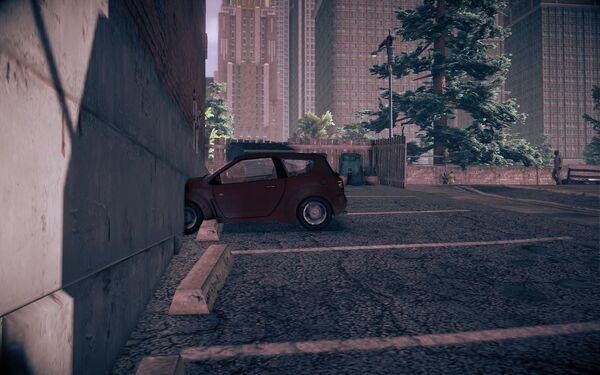 Mockingbird at the broken parking space in Saints Row IV