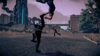 Combat in Saints Row IV - Super gorilla press back kick head stomp - middle