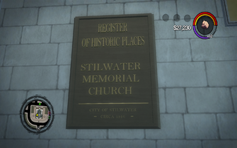 Saints Row Church - Register of Historic Places sign in Saints Row 2