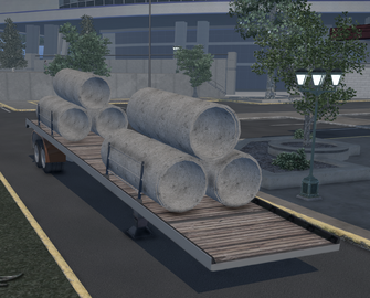 Flatbed trailer with Pipe