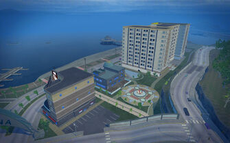 Centennial Beach in Saints Row 2 - aerial view