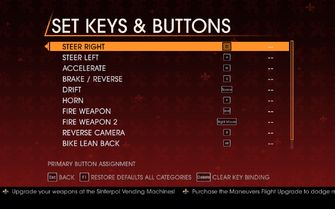 Saints Row Gat out of Hell - Main Menu - Options - Controls - Set Keys & Buttons - Car & Bike