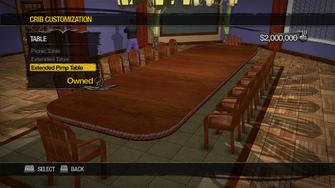 Saints Row Mega Condo - Crib Customization - Table - Extended Pimp Table
