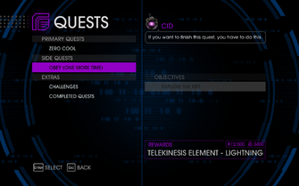 Quests Menu - Obey (One More Time)