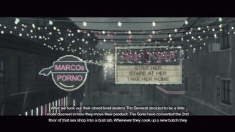 Bavogian Plaza Drug Labs - intro cutscene banners