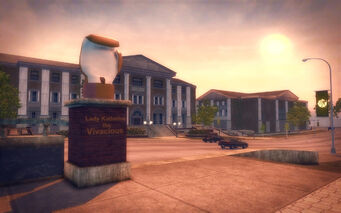 Frat Row in Saints Row 2 - Lady Katherine the Vivacious monument