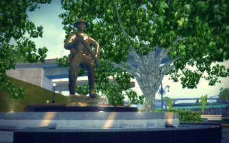 Mission Beach in Saints Row 2 - soldier statue