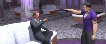 Room Service - Johnny Gat pointing his gun at Dane Vogel