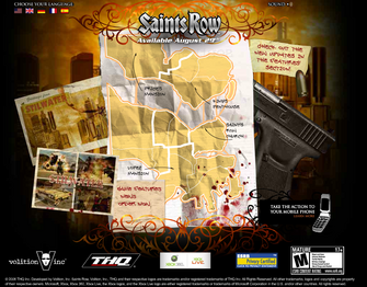 Saints Row promo website - main page with map