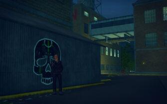 The Mills in Saints Row 2 - civilian smoking near Samedi graffiti